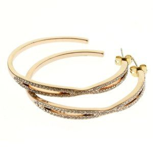 Express gold and crystal hoop earrings NWT